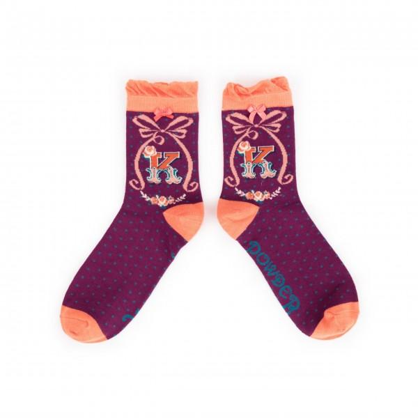 """Powder Damen Socken """"A-Z"""" - Buchstabe K"""