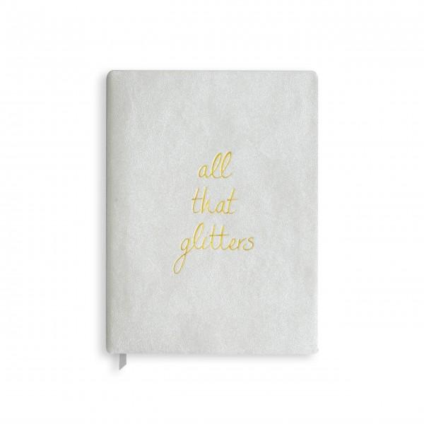 "Katie Loxton großes Notizbuch ""All that Glitters"" (schimmerndes silber)"