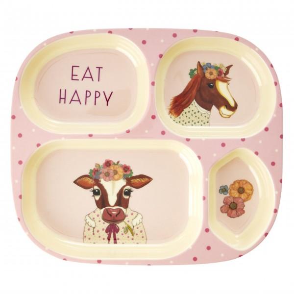 "Rice Melamin Kinderteller ""Farm Animals - Kuh / Pferd""-1"