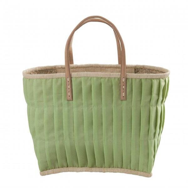 rice Korbtasche aus Raffia - Groß (Grün)