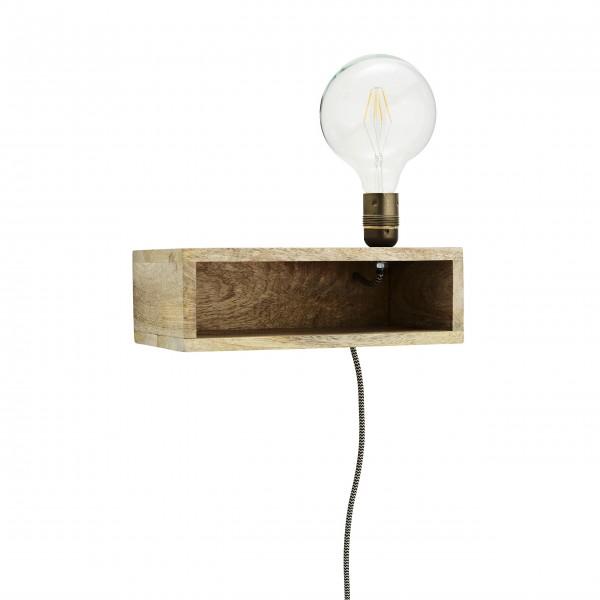 Madam Stoltz Lampe mit Holzregal (Braun)