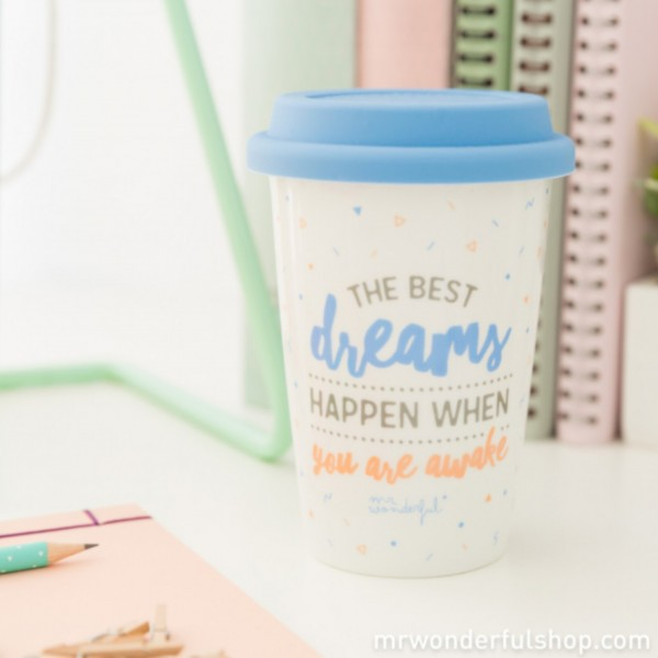 "Tasse to go ""The best dreams happen when you wake up"" von mr. wonderful*"