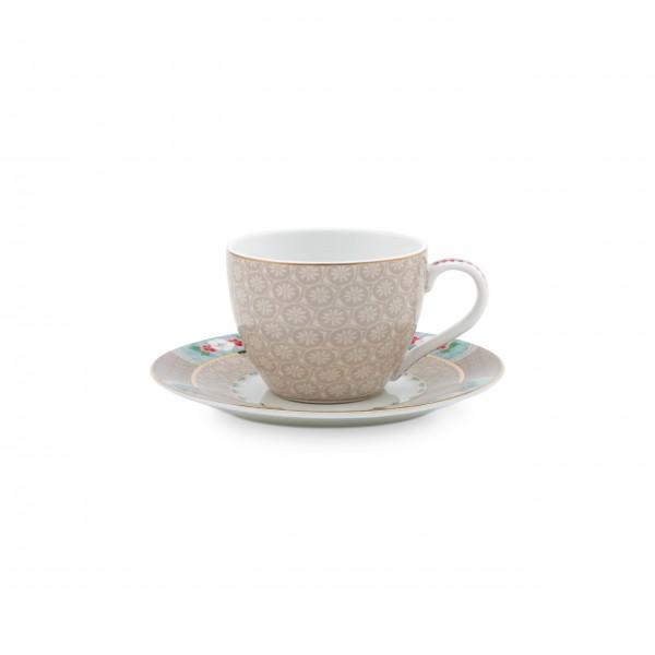 Pip Studio Espresso-Tasse mit Untertasse (Khaki)