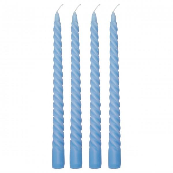 GreenGate Kerzen im 4er-Set (Pale Blue/Gerillt)