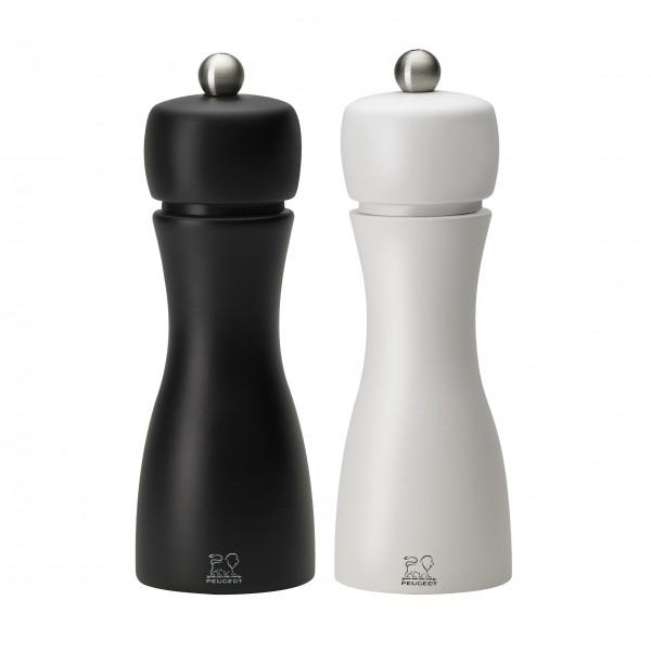 """Peugeot Pfeffer- und Salzmühlenset """"TAHITI DUO"""" matt weiß & schwarz, 15 cm"""