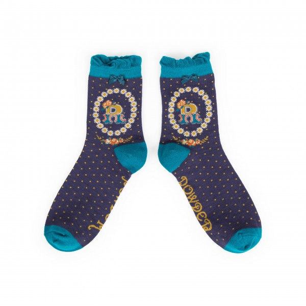 "Powder Damen Socken ""A-Z"" - Buchstabe R"