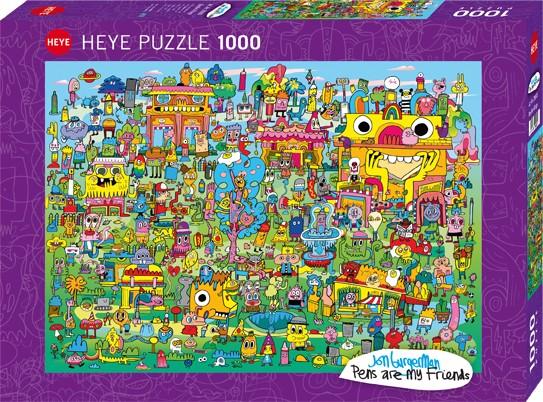 Puzzle Doodle Village PENS ARE MY FRIENDS, JON BURGERMAN Standard 1000 Pieces