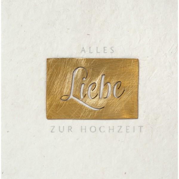 """Glückwunschkarte """"Alles Liebe zur Hochzeit"""" (Creme/Gold) von räder Design"""