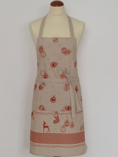 """Country Home Style Schürze """"Weihnacht"""" (beige/rot) 79cm"""