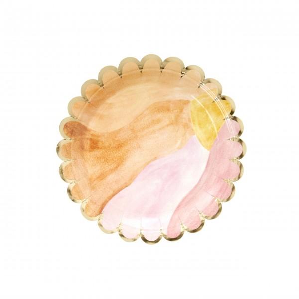 "Rice Pappteller ""Aquarell"" (Pink) - 8er-Set"