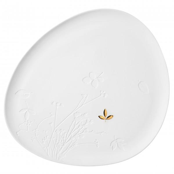 """Porzellanteller mit goldenem Blatt """"Living"""" (Weiß/Gold) von räder Design"""