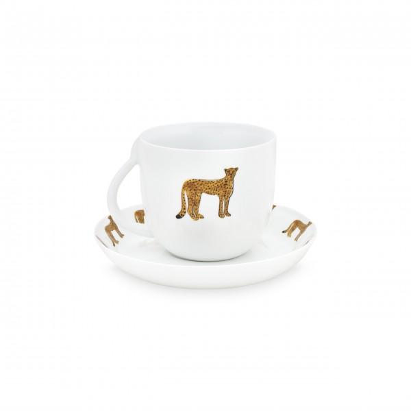 Tierisch edler Tee- und Kaffeegenuss: Tasse mit Untertasse mit Geparden von FABIENNE CHAPOT!
