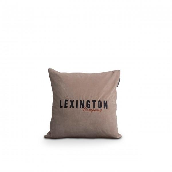 "Lexington Zierkissen aus Samt ""Logo"" (Braun)"