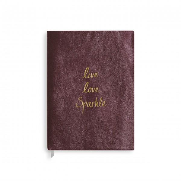 """Notizbuch """"Live Love Sparkle"""" - Groß (Lila) von KATIE LOXTON"""