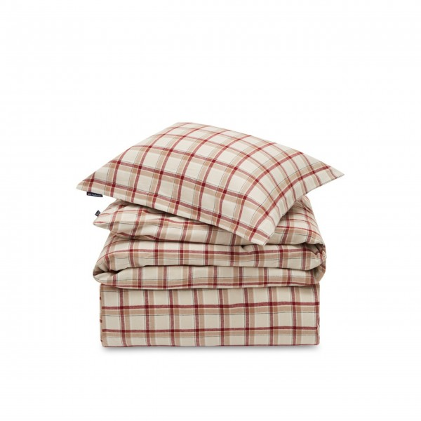Lexington Bettwäsche-Set aus Baumwoll-Flannell (Beige/Rot)