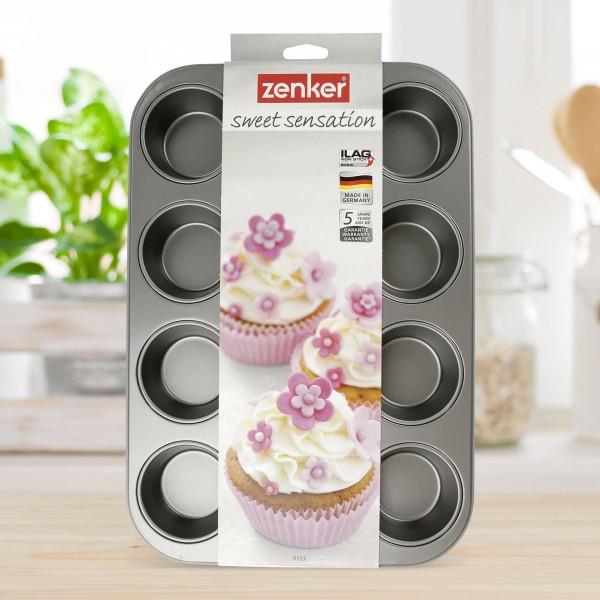 """Zenker 12er-Muffinform """"Candy"""" (Grau)"""