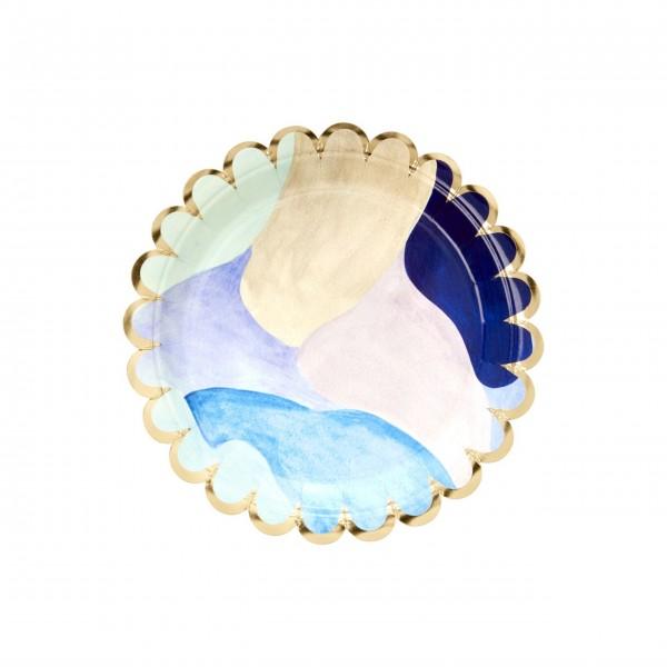 "Rice Pappteller ""Aquarell"" (Blau) - 8er-Set"