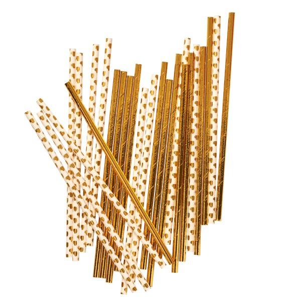 Partydeko in gold - Strohhalme von Rice