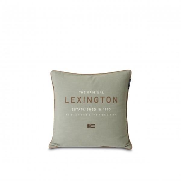"Lexington Kissenhülle aus Baumwoll-Canvas ""Logo"" - 50x50 cm (Grün)"