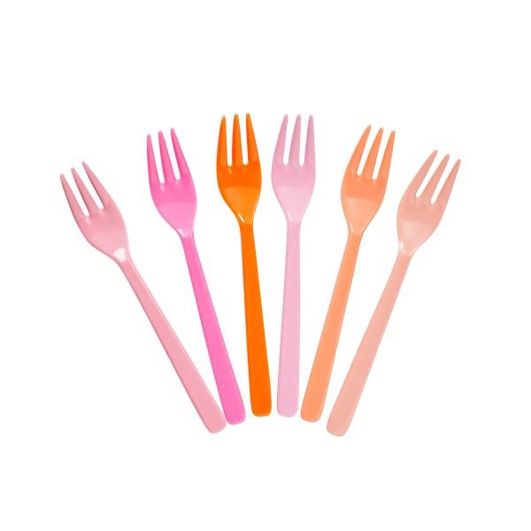 6 farbenfrohe Melamingabeln, von Rice