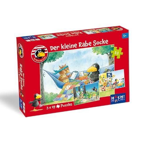 Kinderspiel Der kleine Rabe Socke - Puzzle 3x49 T. von HUCH!