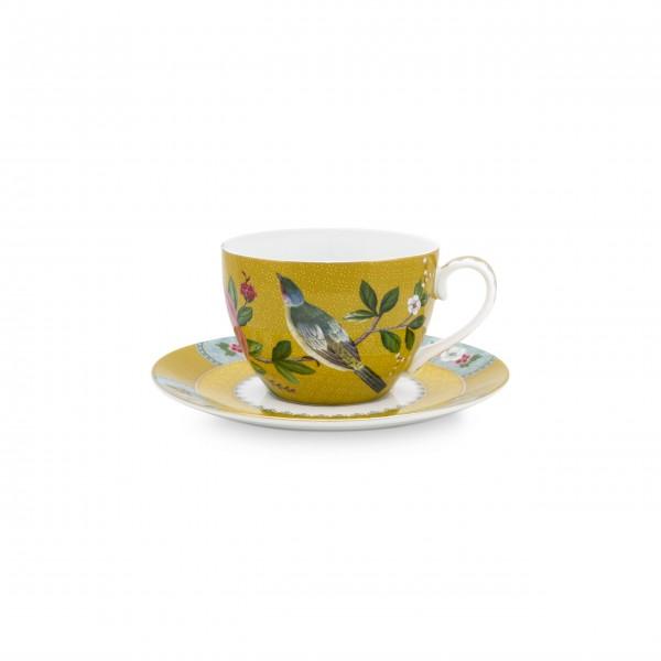 """Pip Studio Tasse mit Untertasse """"Blushing Birds"""" (Gelb)"""