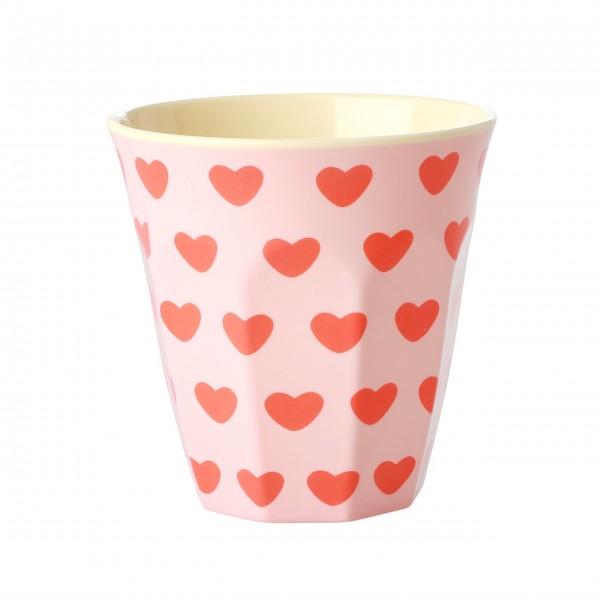 "Rice Melamin Becher ""Small hearts"" - Klein (Pink)"