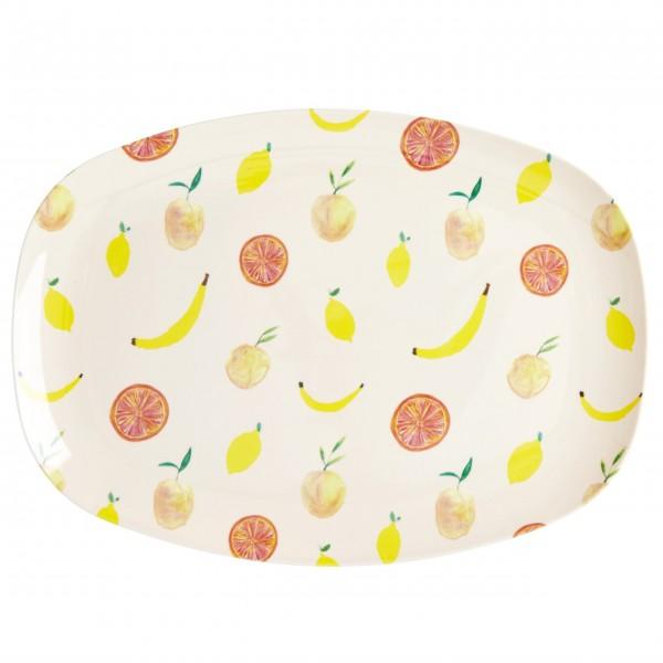 "rice Melamin Teller ""Happy Fruits Print"""