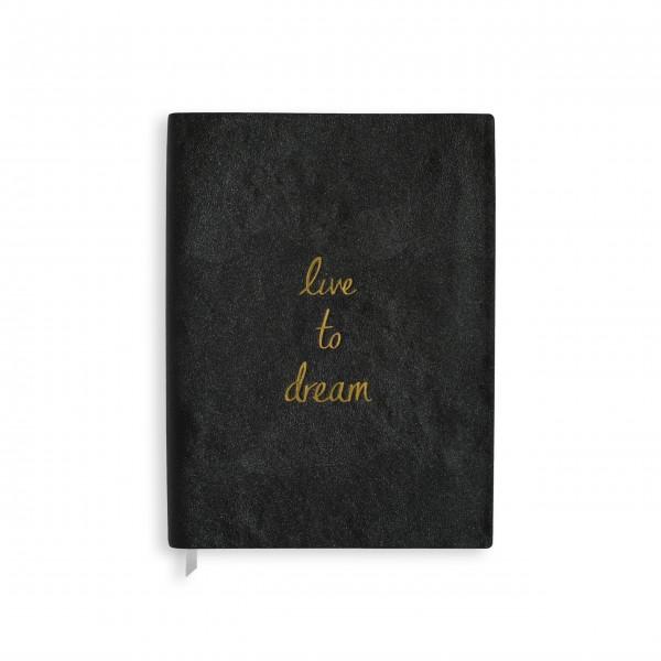 """Notizbuch """"Live to dream"""" - Groß (Schwarz) von KATIE LOXTON"""