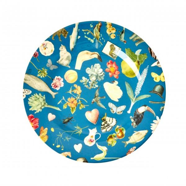 "Rice Melamin Teller ""Art Print"" (Blau)"