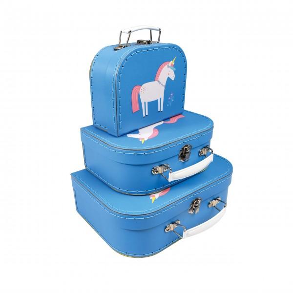 """Kinderkoffer """"Unicorn"""" (Blau) im 3er-Set von Rex LONDON"""
