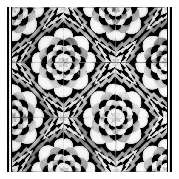 """Matteo Tischset """"Tiles Graphic Flowers"""" (Schwarz/Weiß)"""