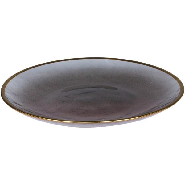 Glasteller mit Goldrand - 21cm (Grau) von Chic Antique