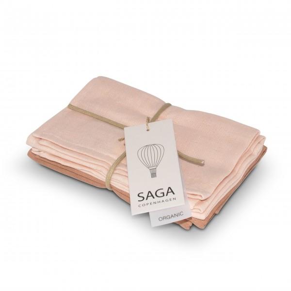 Waschlappen im 4er-Set (Pale Pink/Dusty Coral) von SAGA Copenhagen