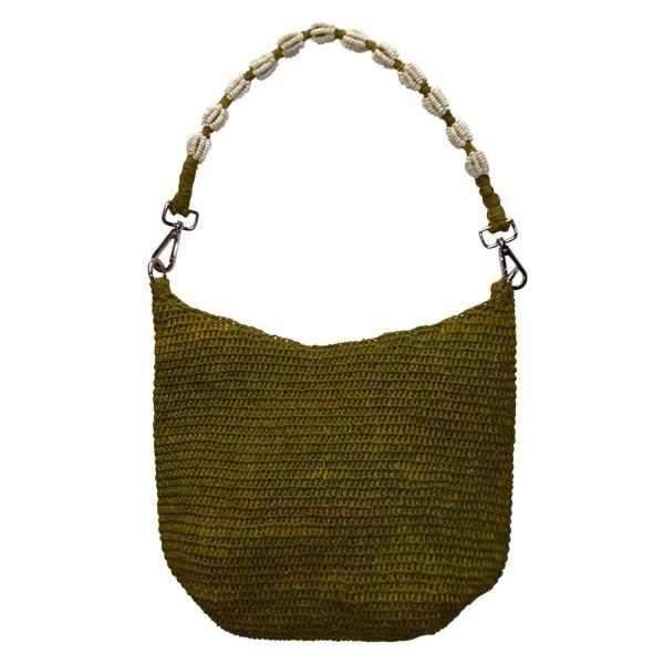 """Bast-Tasche """"Else"""" (Apple Green) mit Perlengriff von CURRY"""