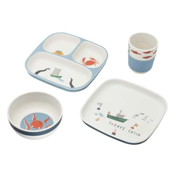 """Kinder-Geschirr aus Bambus/Melamin """"Seven Seas"""" - 4-teilig von sebra"""