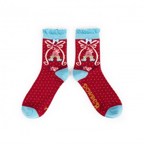 "Powder Damen Socken ""A-Z"" - Buchstabe A"