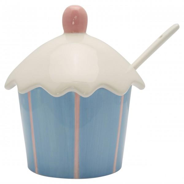 GreenGate Marmeladenglas mit Löffel (Pale Blue/Gestreift)