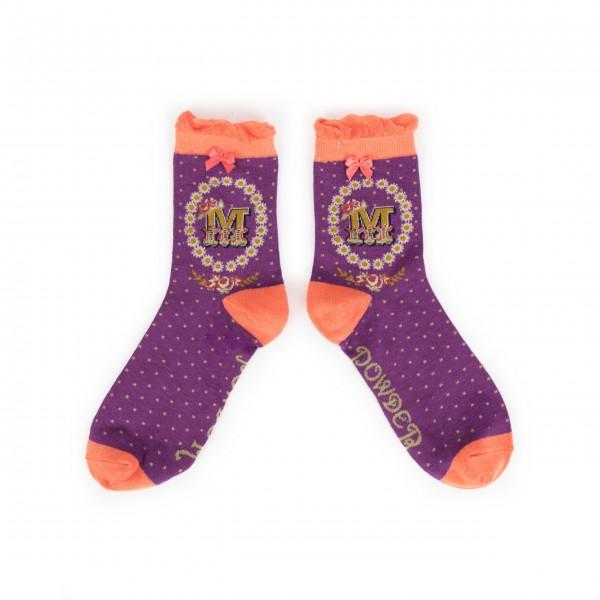 "Powder Damen Socken ""A-Z"" - Buchstabe M"