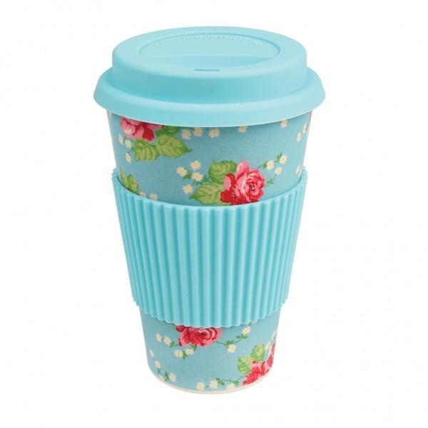 """Coffee to go Becher aus Bambus """"English Rose"""" von Rex LONDON"""