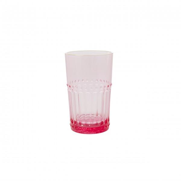 "rice Wasserglas mit Goldrand ""Acrylic"" - Groß (Pink)"