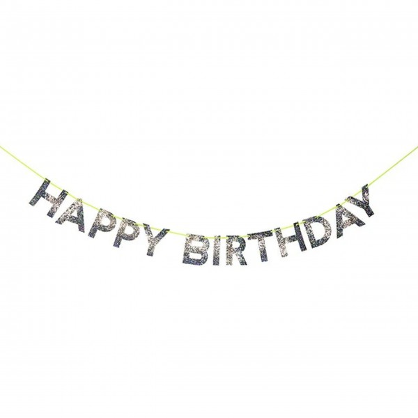 "Girlande ""Happy Birthday"" Silber von Meri Meri"