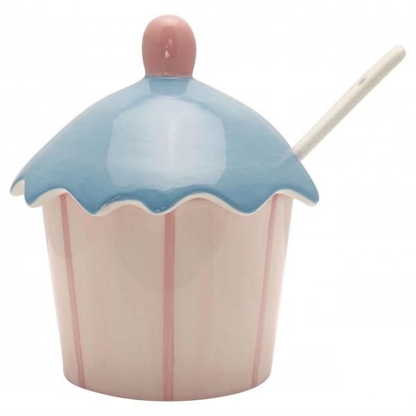 GreenGate Marmeladenglas mit Löffel (Pale Pink/Gestreift)