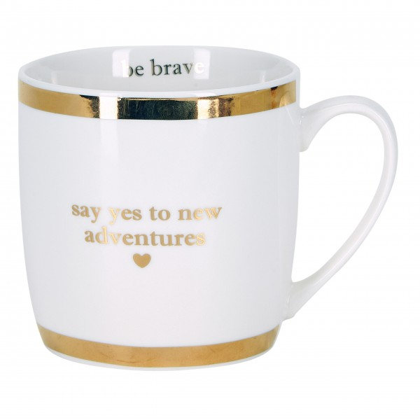 """Miss Étoile Kaffetasse """"Say yes to new adventures"""" (Weiß)"""