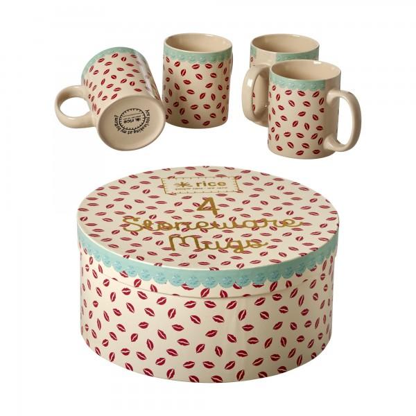 """Rice Keramikbecher 4er-Set """"Kiss"""" in der Geschenkbox"""