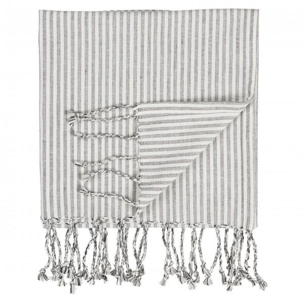 """Ib Laursen Großes Handtuch """"Hammam"""" (Grau / Weiß)"""