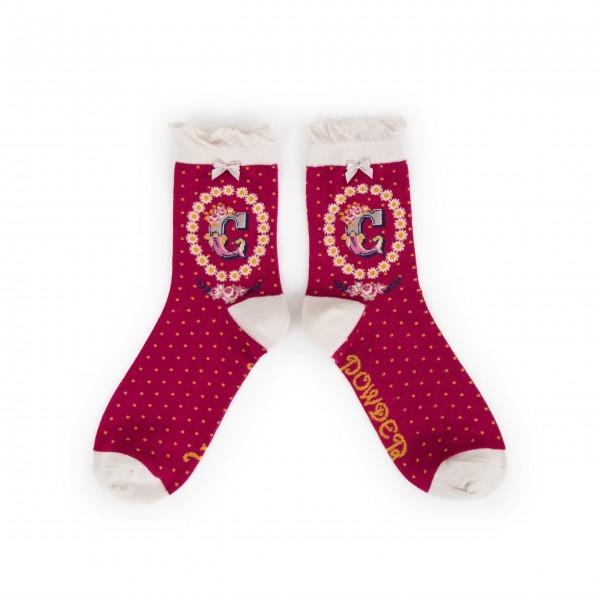 "Powder Damen Socken ""A-Z"" - Buchstabe C"