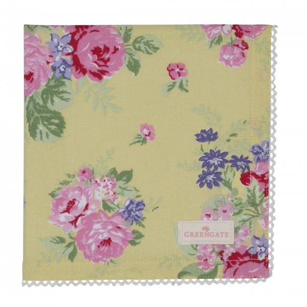 "GreenGate Stoffserviette ""Rose"" (Pale Yellow)"