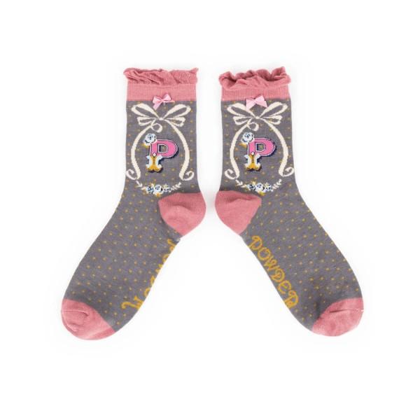 "Powder Damen Socken ""A-Z"" - Buchstabe P"