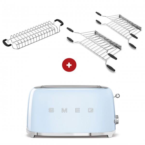 smeg Toaster Set - 2-Schlitz-Toaster lang (Pastellblau) mit Röstaufsatz und zwei Sandwichzangen
